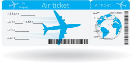 passenger airline: Variant of air ticket isolated on white illustration Illustration
