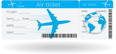 Variante di biglietto aereo isolato su bianco illustrazione Vettoriali