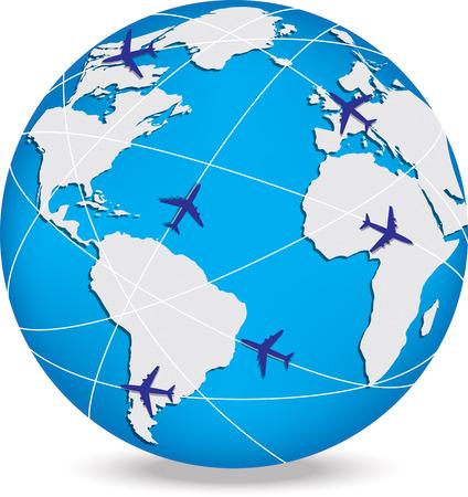 Globe con percorsi commerciali e punti