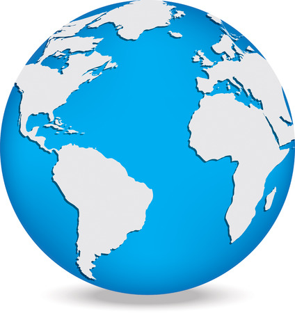 Globe with white continents and blue oceans