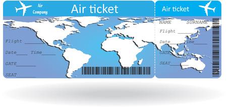 Variante del biglietto aereo isolato su bianco. Illustrazione vettoriale