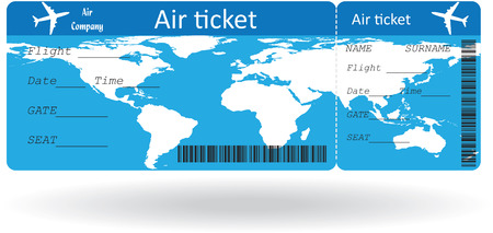 Variant of air ticket isolated on white. Vector illustration Vector