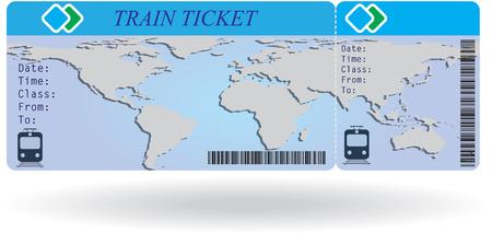 Variante du billet de train isolé sur fond blanc. Vector illustration