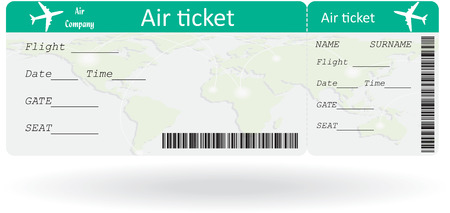 airline: Variant of air ticket isolated on white  Vector illustration