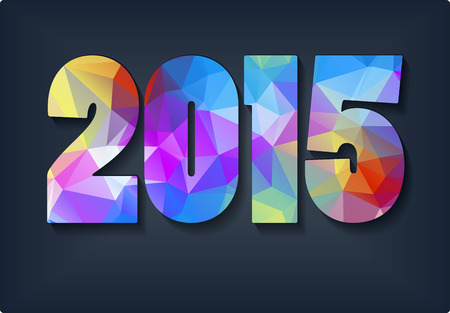 New Year background with text 2015 which was made from colorized triangles Vector illustration