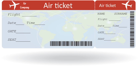Variant of air ticket isolated on white
