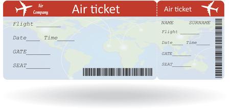 Variant van de lucht ticket op wit wordt geïsoleerd