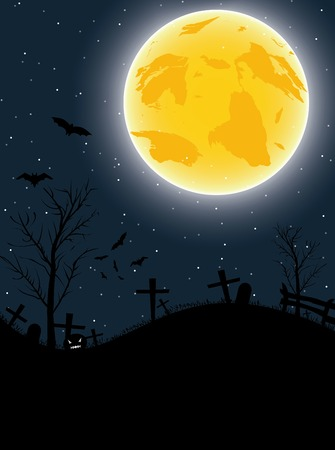 Halloween background with pumpkin, bats and big moon   Vector