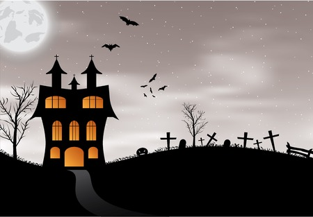 Halloween background with castle, pumpkin, bats and big moon  Vector illustration Vector
