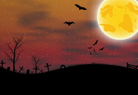 Halloween background with cemetery, pumpkin, bats and big moon  Vector illustration Vector