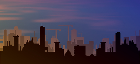 clouds scape: silhouette of town with sunset and clouds in sky  Vector illustration