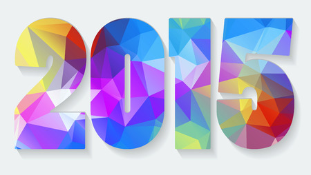 New Year background with text 2015 which was made from colorized triangles  Vector illustration Vector