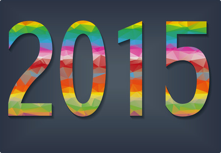 New Year background with text 2015 which was made from colorized triangles illustration Vector
