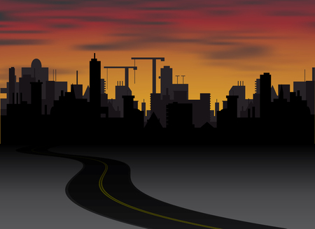 silhouette of town with sunset and clouds in sky. Vector illustration Vector