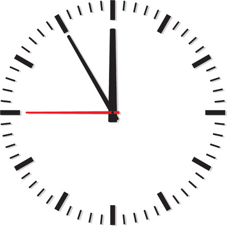Clock isolated on white background. Vector illustration Ilustracja