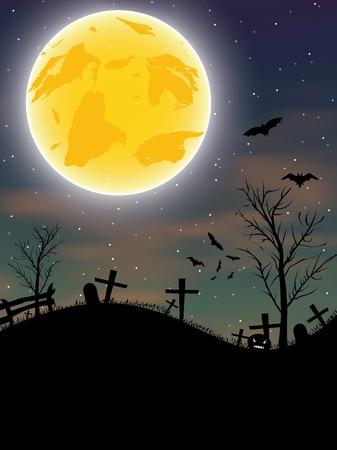 Halloween background with pumpkin, bats and big moon. Vector