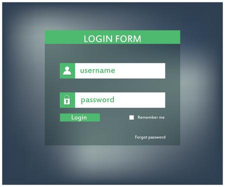 Modern login form for website. Vector illustration
