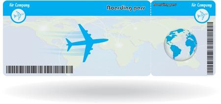 boarding card: Variante del biglietto aereo isolato su bianco. Illustrazione vettoriale
