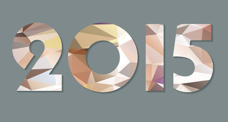 New Year background with text 2015 which was made from colorized triangles. Vector illustration Vector