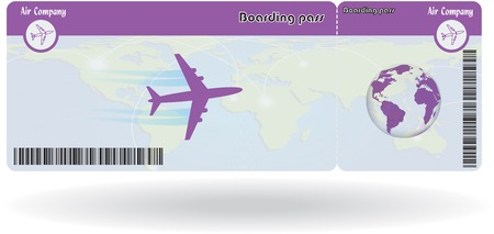 Variant of air ticket isolated on white. Vector illustration