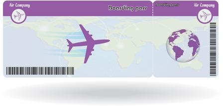Variant van vliegticket geïsoleerd op wit. Vector illustratie