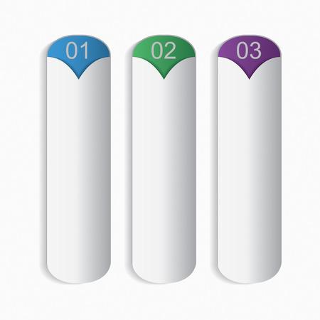 Three bookmarks. Infographic design elements.  Vector