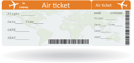 passenger airline: Variant of air ticket isolated on white. Illustration