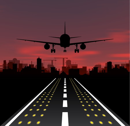 The plane is taking off at sunset and night city. Vector illustration