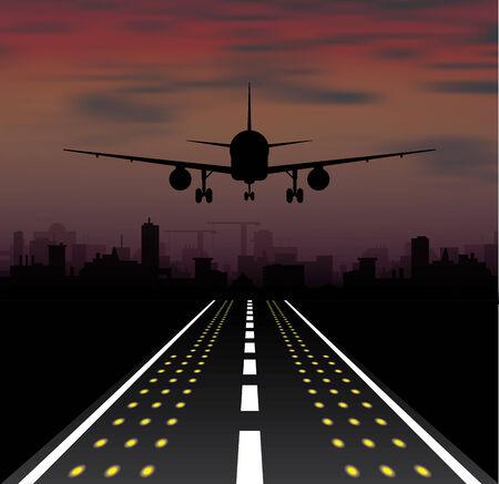 taking off: El avi�n est� despegando al atardecer y la noche de la ciudad. Ilustraci�n vectorial