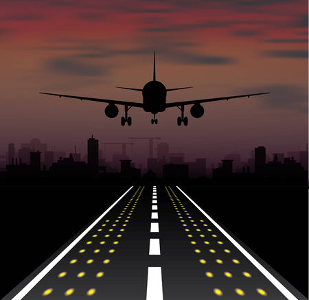 The plane is taking off at sunset and night city. Vector illustration Vector
