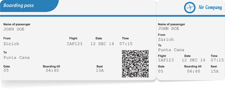 variant: Variant of boarding pass isolated on white. Vector illustration