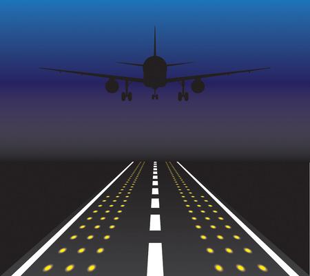 taking off: El avi�n est� despegando al atardecer. Ilustraci�n vectorial