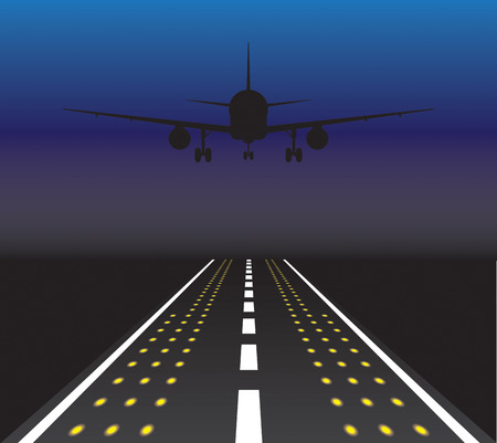 Het vliegtuig wordt opstijgen bij zonsondergang. Vector illustratie