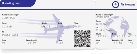 airline: Variant of boarding pass isolated on white. Vector illustration