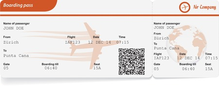 Variant of boarding pass isolated on white. Vector illustration