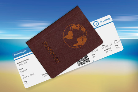 Passport and boarding pass.View on sea and beach as background. Travel concept. Vector illustration