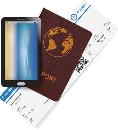 Passport and boarding pass with smartphone. Travel concept. Vector illustration Vector