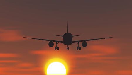 The plane is taking off at sunset. Vector illustration Vector
