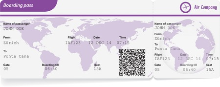 Variant of boarding pass isolated on white. Vector illustration Vector