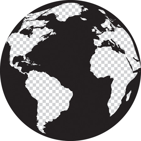 Black and white globe with transparency on the continents. Vector illustration Vettoriali