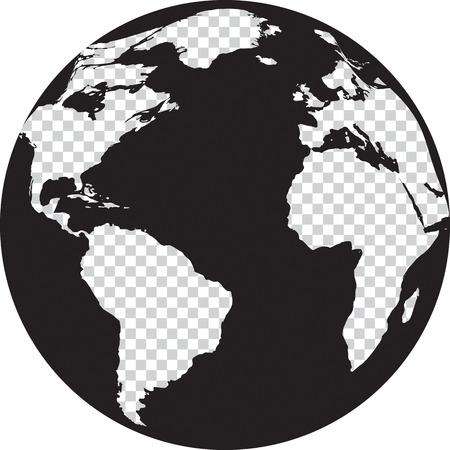 Mundo en blanco y negro con la transparencia en los continentes. Ilustración vectorial