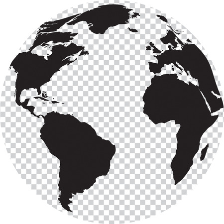 Black and white globe with transparency on seas. Vector illustration Vectores