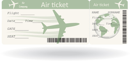 Variant of boarding pass isolated on white.