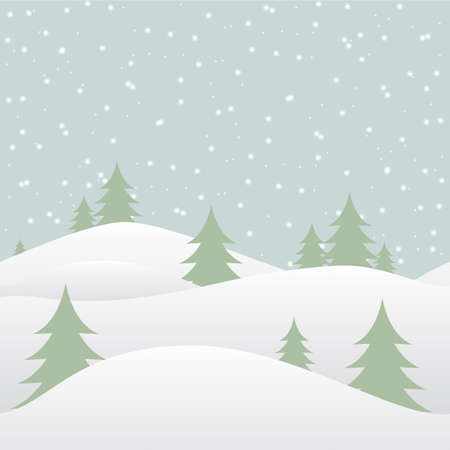 Seamless winter background with falling snow and fir-tree. Vector illustration Vector