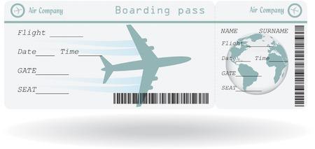 Variant van vliegticket geïsoleerd op wit. Vector illustratie Stock Illustratie
