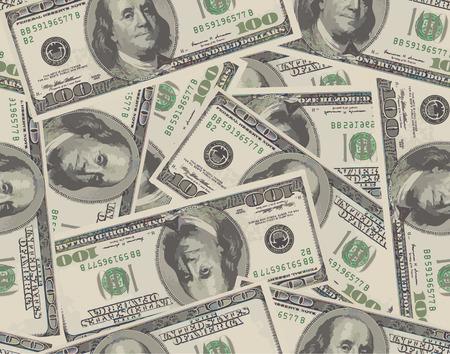 factura: Fondo inconsútil de 100 billetes de dólar. Ilustración vectorial