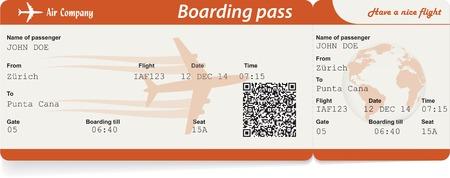 QR2 코드와 항공사 탑승 티켓을 전달 벡터 이미지입니다. 흰색에 격리. 벡터 일러스트 레이 션