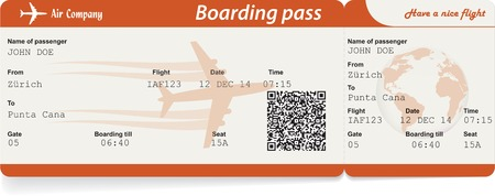 Vector image of airline boarding pass ticket with QR2 code. Isolated on white. Vector illustration Imagens - 33874968