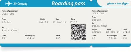 Vector Image der Fluggesellschaft Bordkarte Ticket mit QR2-Code. Isoliert auf weiß. Vektor-Illustration
