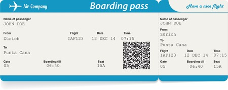 flight: Vector image of airline boarding pass ticket with QR2 code. Isolated on white. Vector illustration